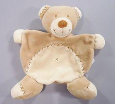 Doudou plat ours velours beige Nicotoy garçons