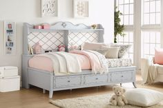 Edalene Daybed 39165 $688  Description :  Create the dream bedroom for your little girl with Edalene collection. Beautiful accents are seen throughout including clear rosette knobs and tapered legs. The bed features a pearl white tufted headboard. With many storage options and details like floral felt lined drawers, the collection is ideal for a child's room. The gorgeous details in each piece make the Edalene collection perfect for your little princess.