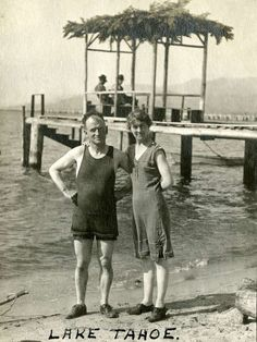 William and Grace McCarthy in swimsuits on a beach at Lake Tahoe, c. Classic Photography, Lake Tahoe, Photo 2017, Swimsuits, California, History, Secretary, Caption, Division