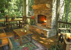 Love this screened in porch and fireplace-vacation rental franklin north carolina