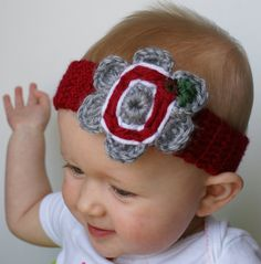 CUSTOM - MADE TO ORDER  Baby Headband with Pro Sports or College logo detail on a flower  Any Color Combination possible (Specify Band, Flower, and Logo colors during Checkout)  Any Crochet-able Logo!   Available Sizes: Premie, Newborn, 0-3, 3-6, 6-9, 9-12, 12-18 (Specify during Checkout) ***Headbands have stretch so they will last longer than 3 months!****  Make Great Baby Shower Gifts   Great for Newborn or Infant Photographs!  Great for your family's favorite Sports Team or Alma Mater