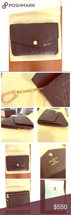 Louis Vuitton Empreinte Key Pouch - Terre 100% Authentic Louis Vuitton Empreinte Leather Key Pouch in the discontinued color Terre. It's a dark brown color with black glazing, and gold tone hardware. Surface scratches on the front snap button as well as on the back zipper pull and key hook. Clean interior pockets. Comes with original box, dust bag, care booklet/card, item sku, shopping bag, and receipt holder. **please note receipt is not included in listing** Serious buyers only!! Thank you…
