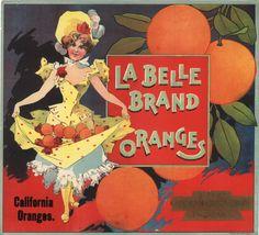 La Belle Orange Crate Label Southern California probably Riverside c.1890s