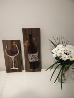 nail and string art wine bottle and glass More