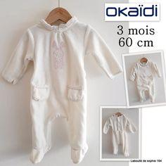 1ee6607e28ca2 Okaidi Pyjma 3 mois blanc (bavoir en plus) 60 cm