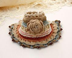 Flower Crochet Bracelet Crochet Cuff Crochet Beaded by stasiSpark