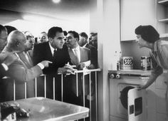 Khrushchev and Nixon discussing the common American household via translator (1959)  Arguably one of the most seminal non-combat moments of the Cold War happened at the Exhibition on opening day. Today, it's known as the Kitchen Debate, and it was broadcast the following day on all three major American networks, as well as on Soviet TV.