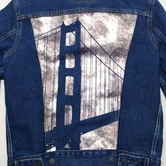 593a8cf94ed40a Bridging denim and design. Our Master Tailor Laura screen printed one of  our favorite landmarks