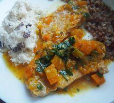 Schab gotowany w sosie dyniowym | Dom Gosi Thai Red Curry, Meat, Chicken, Dom, Ethnic Recipes, Buffalo Chicken, Rooster