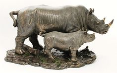 Rhino and Baby Rhino. Made out of Cold Cast Bronze (Combination of Bronze Powder and Resin). Animal Statues, Animal Sculptures, Lion Sculpture, Sculpture Ideas, African Figurines, Baby Chimpanzee, Rhino Art, Baby Rhino, Baby Seal