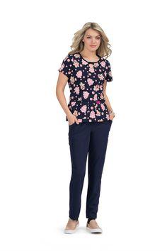 Beysey Johnson by Koi Scrub Print Top (Ginger Lady) Koi Scrubs, Navy Background, Scrub Tops, Stretch Fabric, Betsey Johnson, Capri Pants, Lady, Collection, Style