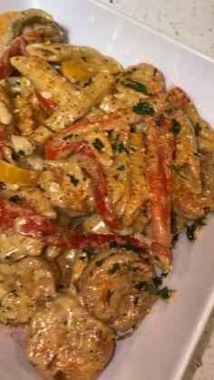 Shrimp Dishes, Shrimp Recipes, Pasta Dishes, Food Dishes, Jamaican Dishes, Jamaican Recipes, Jamaican Rasta Pasta Recipe, Jerk Shrimp, Cooking Recipes
