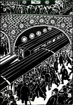 Railway Art - Lino or woodcut - Masereel