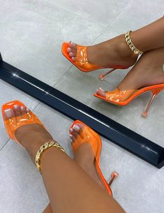 Pretty Shoes, Cute Shoes, Me Too Shoes, High Heel Sneakers, Sneaker Heels, Stiletto Heels, Shoes Heels, Orange Heels, Everyday Shoes