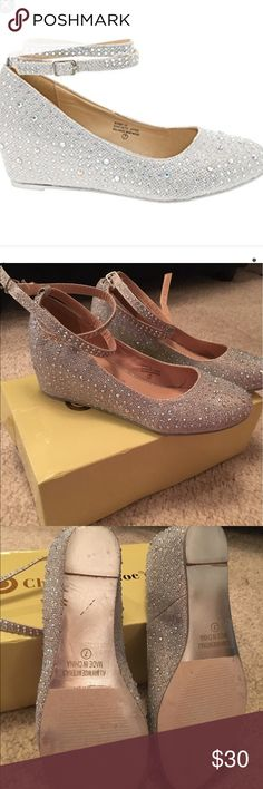 Chase & Chloe formal dress shoes size 7 silver Chase & Chloe formal dress shoes size 7 silver they look like diamond shoes comes with box only worn once indoors in mint condition Chase & Chloe Shoes Wedges