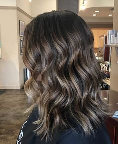 Long Wavy Ash-Brown Balayage - 20 Light Brown Hair Color Ideas for Your New Look - The Trending Hairstyle Short Balayage, Brown Hair Balayage, Brown Ombre Hair, Ombre Hair Color, Brown Hair Colors, Dark Brown Hair With Blonde Highlights, Fall Balayage, Fall Hair Colors, Brown Hair Shades