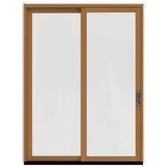 JELD-WEN 71.25 in.x95.5 in. W-2500 Brilliant White Prehung Right-Hand Sliding 1-Lite Pine Patio Door w/ Stain Fruitwood Interior