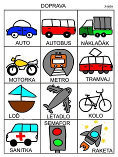 Doprava Baby Time, Montessori, Transportation, Language, Teaching, Education, Logos, Cards, Languages