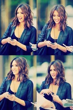 Jessica Alba has the PERFECT long wavy bob-If I was to go shorter I would what to try waves!