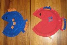Pre-School Art - Paper Plate Fish - Paint Plates, Cut out Triangle Mouth, Glue on Contrasting Color Fins and Tail