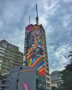 """""""São Paulo - Brasil - by #EduardoKobra .  Siga / follow @ilovesaopaulo e @urbanbikesp . #lebelletour #blogueirosdeviagens #SP #existeamoremsp #sampacity…"""""""