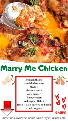 This is a cream sauce with baked chicken thighs, tomatoes and fresh herbs with garlic Easy Chicken Recipes, Beef Recipes, Turkey Recipes, Oven Baked Chicken, Yum Yum Chicken, Italian Style, Good Food, Awesome Food, Kitchens