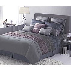 @Overstock - Complete any bedroom in your home with this super stylish Rainer comforter.  This bedding ensemble showcases a pieced stripe pattern with iridescent pleating accents.http://www.overstock.com/Bedding-Bath/Rainer-4-piece-King-size-Comforter-Set/5518019/product.html?CID=214117 CAD              108.04