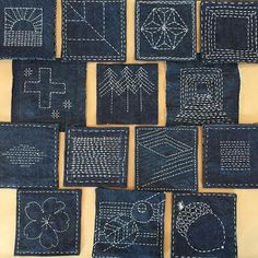 Best 11 Olympus Sashiko Fabric – Sashiko Placemat Kit 166 – Seven Treasures – Navy – Japanese Embroidery – DiyForYou – SkillOfKing. Boro Stitching, Hand Stitching, Fabric Crafts, Sewing Crafts, Sewing Projects, Hand Embroidery Stitches, Embroidery Patterns, Machine Embroidery, Shashiko Embroidery