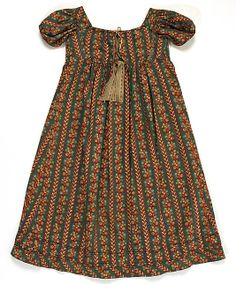 Metropolitan Museum of Art, item C.I.X.52.1.2, early 19th century cotton dress, american. (based on size it's a childs)  Length at CF: 27 1/2 in. (69.9 cm); Length at CB: 29 in. (73.7 cm); Width at Bottom: 54 in. (137.2 cm)