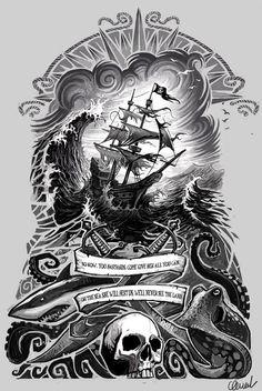 Risultati immagini per black and white the pirate ship wall art Kunst Tattoos, Body Art Tattoos, Sleeve Tattoos, Ankle Tattoos, Bear Tattoos, Tattoo Sketches, Tattoo Drawings, Pirate Tattoo Sketch, Nautical Tattoo Sleeve