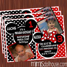 Mickey and Minnie Invitation Red by Mimi's Dollhouse. The Mickey and Minnie invitation is available in JPEG and printable PDF formats. The Mickey and Minnie invitation is personalized to include photo and info. Minnie Mouse Birthday Invitations, Mickey Mouse Invitation, Mickey Party, Mickey Mouse Birthday, Invitation Birthday, Invitation Wording, Printable Invitations, Invites, Party Invitations