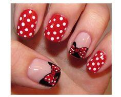 Disney Nail Art... Minnie Mouse
