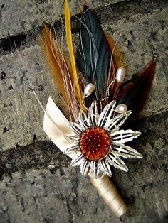 Boutonniere to go with brooch bouquet? :  wedding alternative bouteniere bouteniere brooch bouquet wine theme Bout2