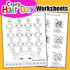 Fun math and literacy activities to go along with Crazy Hair Day, Dr. Seuss Week, Right to Read Week, Read Across America and Spirit Week.