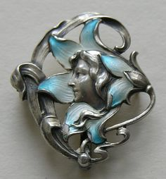 Art Nouveau Enameled Lady in Flower Silver Watch Brooch