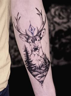I love the trees in this but not the way the mountain looks really love the triangle shape it comes down too as well don't like the shapes above the deer or the deer itself so much
