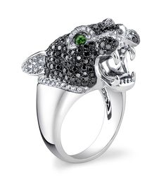 White & Black Diamond Tiger Ring with Emerald Eyes set in 18K White Gold