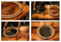25 diy ways of using rope for a vintage look - rope framed mirror