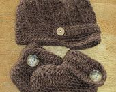 Crochet Newsboy Button Hat and Button Baby Boot set