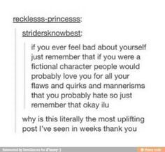 It's weird bc people love awkward and introverted fictional characters, but not awkward introverted real people. Why?