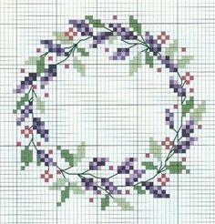 cross stitch lavender, would work with an initial or a word in the center - Crafting For Holidays