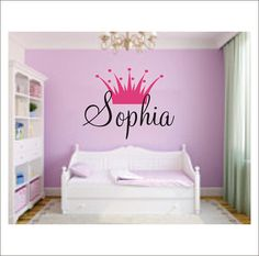 Princess Crown Personalized Vinyl Wall Decal Large Vinyl Wall Decal Girls Nursery Bedroom Home Decor on Etsy, $30.00