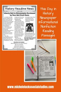 Take your Social Studies students back in time as they read daily passages on fun and engaging events from history. Each month includes daily readings so you can use as bellringers, homework readings, or as reading passages for centers or lessons. This day in history readings help you meet your social studies standards while also hitting reading targets. Click over to learn more. Geography Lessons, Teaching Geography, Reading Help, Reading Lessons, Daily Readings, Literacy Skills, Reading Passages, World History, Social Studies