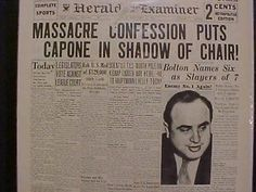 VINTAGE NEWSPAPER HEADLINE ~CRIME GANGSTER SCARFACE AL CAPONE ...