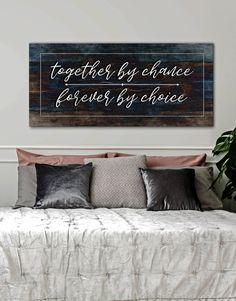 Couples Wall Art: Together by Chance Forever by Choice (Wood Frame Ready To Hang) - Home Decor diy - Bedding Master Bedroom Cute Dorm Rooms, Cool Rooms, Farmhouse Side Table, Farmhouse Decor, Modern Farmhouse, My New Room, My Living Room, Living Room Designs, Diy Home Decor