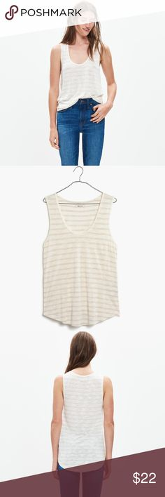 Madewell striped cream & tan Tank Top size Large This is an anthem scoop Tank by Madewell. Size LARGE.  Brand new with tags  PRODUCT DETAILS Laid-back and undeniably flattering with a scoop neckline and curved baseball hem. Crafted of our signature Anthem fabric—the one with that extra-soft feel and perfect drape—this is one top we can't help but hit replay on.    Drapey fit. Viscose. Hand wash. Import. Item F1606. Madewell Tops Tank Tops