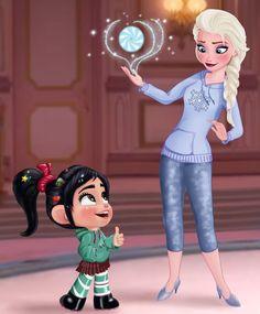 Vanellope and Elsa - Disney Royalty by artistsncoffeeshops #disney #vanellope #elsa #frozen #wreckitralph #cute #fanart
