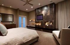 Love this master bedroom with the fireplace!