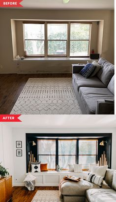 Narrow Living Room, Living Room Windows, Home Living Room, Living Room Decor, Living Spaces, Small Living, Home Renovation, Home Remodeling, Interior Minimalista