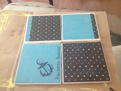 DIY drink coasters I made today with some scrapbook paper, modpodge, tacky glue and cork board :) Go Navy! <3